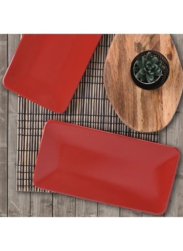 Keramika Kırmızı Siera Kayık Tabak 33 Cm 2 Adet Kırmızı